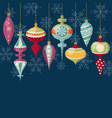 flat design christmas card with christmas balls vector image vector image