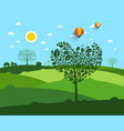 flat landscape with heart shaped tree vector image vector image