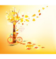 hello autumn hand drawn tintage bicycle with vector image vector image