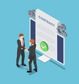 isometric businessmen shaking hand with online vector image vector image