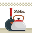 kitchen teapot with pan utensil icon vector image vector image