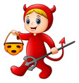 little girl in halloween red devil costume vector image