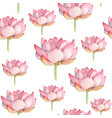 lotus watercolor seamless pattern vector image