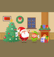 merry christmas celebration of elf and santa claus vector image vector image
