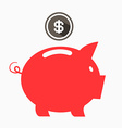 Money Red Pig Bank with Dollar Coin vector image vector image