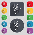 musical notes icon sign A set of 12 colored vector image