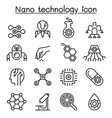 nanotechnology icon set in thin line style vector image vector image