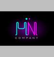 neon lights alphabet hn h n letter logo icon vector image