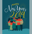 new year 2019 friend people group greeting card vector image vector image