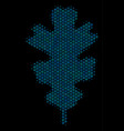 oak leaf mosaic icon of halftone bubbles vector image