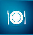 plate fork and knife icon cutlery symbol vector image vector image