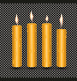 realistic orange glowing candles with melted wax vector image vector image