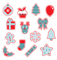 red and blue Christmas icons vector image vector image