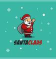 santa claus logo cartoon mascot on christmas vector image