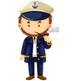 Sea captain with smoking pipe vector image vector image