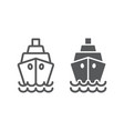 ship line and glyph icon cruise and sail boat vector image vector image