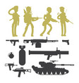 silhouettes military soldiers ammunition guns vector image