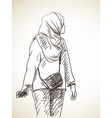 sketch muslim woman hand drawn vector image