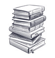 stack books sketch drawings engrave pile of vector image