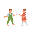 toddlers boy and girl walking and exploring world vector image vector image
