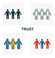 trust icon set four elements in diferent styles vector image