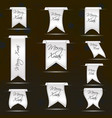 white hanging curved ribbon banners set for merry vector image