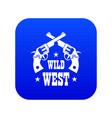 wild west revolver icon blue vector image vector image