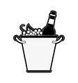 wine bottles in ice bucket vector image vector image