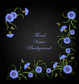 corner composition with cornflowers and leaves vector image