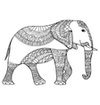 elephant Black and white doodle print with ethnic vector image