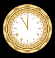 ancient clock of the yellow metal with ornaments vector image vector image
