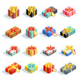 big set of different colored 3d giftboxes with vector image