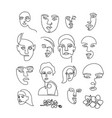 big set one line drawing woman s face vector image