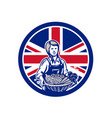 british female organic farmer union jack flag icon vector image vector image
