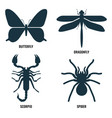 butterfly and dragonfly scorpio and spider vector image vector image