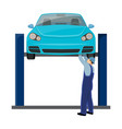 car on lift single icon in cartoon style vector image vector image