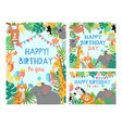 cartoon happy birthday animals card vector image