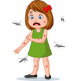 cartoon little girl being bitten by mosquitos vector image vector image