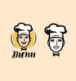chef logo cuisine cooking icon or label vector image vector image