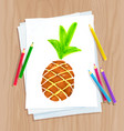 child drawing pine apple vector image vector image