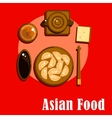 Chinese cuisine icons with dumplings and tea vector image