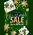 christmas sale holiday banner for web or flyer vector image vector image