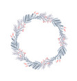 christmas wreath and red berries vector image vector image