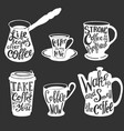 coffee quotes and sayings typography set vector image vector image