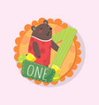 colorful round emblem with cute bear and number vector image vector image