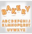 Comic cartoon bakery style alphabet vector image vector image
