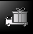 delivery gift sign gray 3d printed icon vector image vector image
