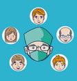 doctor cartoon with patients faces vector image