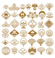 fan and lotus fancy icons set vector image vector image