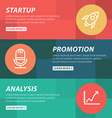 Flat design concept for startup promotion analysis vector image vector image